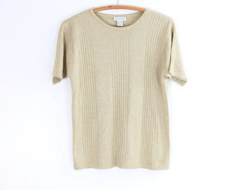 Vintage Silk Blouse / Metallic Knit Short Sleeve Shirt / 90's WASSERMAN Knit Top / Medium