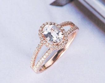 White Sapphire Engagement Ring Rose Gold Oval Cut Antique Halo Half Eternity Diamond Band Women Promise Bridal Wedding Split Shank
