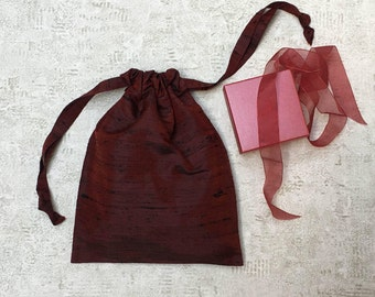unique smallbag silk red dark, black fibers - reusable bag - zero waste
