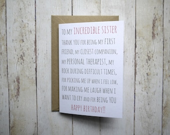 Sister birthday card // Funny sister birthday card // Birthday card for Sister // Sister's Birthday // Sibling card // Brother to Sister //