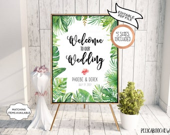Wedding Welcome Sign Reception Tropical Greenery Editable Printable Welcome Wedding Shower Party Poster Board DIY Template PCTGWS PCFPS