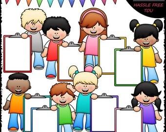 Big Grin Clipboard Kids Clip Art and B&W Set
