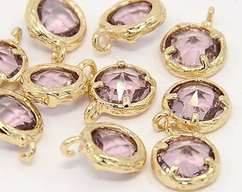 2pcs, 10x7.5x4mm Real Gold Plated Brass Glass Pendants, Faceted Flat Round Charms, Plum