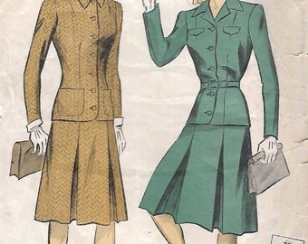 """Vintage 1940's Sewing Pattern Women's Two-Piece Suit WWII Inverted Pleats B 40"""""""