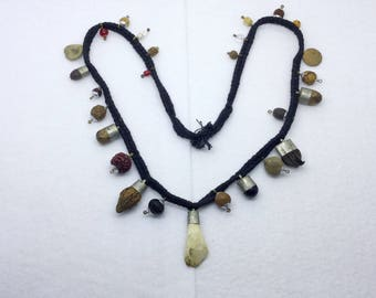 Vintage ethnic tribal Nepal Shaman tooth seeds coin Necklace