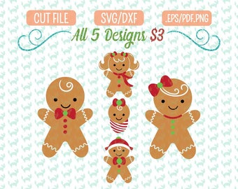 Gingerbread Family SVG bundle, DXF, EPS, png Files for Cutting Machines Cameo or Cricut - Ornament Svg, Christmas Svg Bundle