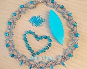 Grey and aqua blue gladden beads.