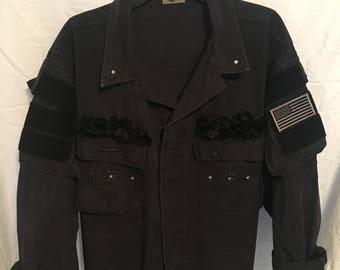 Blue/Black BDU Jacket with Pocket Sleeves