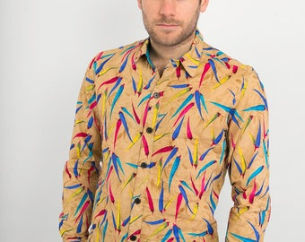 Mens 100% Cotton Long Sleeve Slim Fit Shirt Brown Blue Multi Colour Chilli's Print