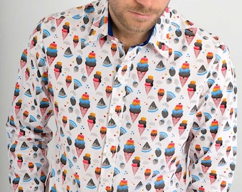 Mens 100% Cotton Long Sleeve Slim Fit Shirt Ice Creams on White Print
