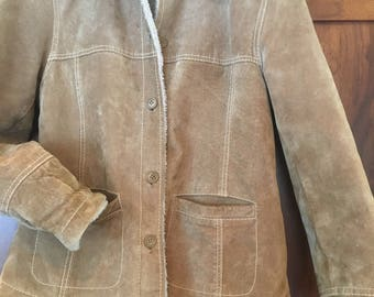 90's Columbia Suede and Sherpa Lined Women's Small Jacket Super Warm Leather Lined Big Pocket Jacket