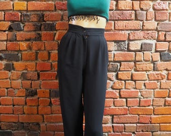 Women's 90s Black High Waisted Harem Pants Trousers Size Small X Small