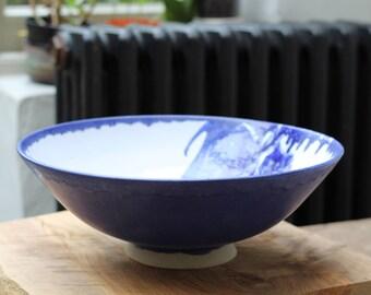 Large blue & white Ceramic bowl - Ceramics, pottery bowl, pottery bowl, wedding gift, made for order, stonware bowl, handmade, tableware.