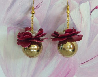 Red Peony Flower Earrings, Gold Plated Copper Ball Jewelry, White Beads
