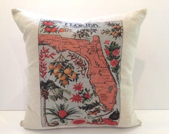 Square Map of Florida Map Pillow