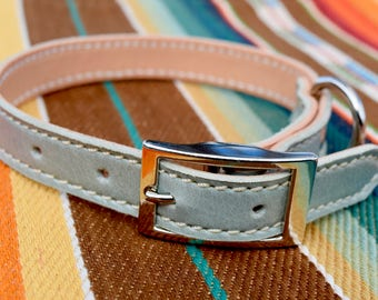 Sea Foam Leather Dog Collar