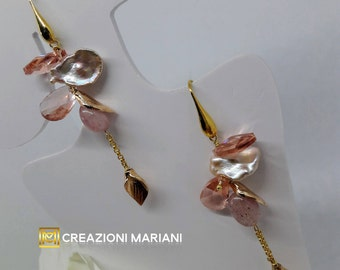 Earrings in Argento925 and pink Baroque Pearls
