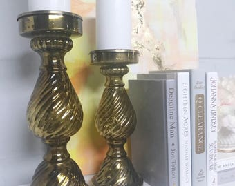 Gold Glass Candleholders (set of 2)