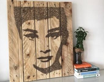 Audrey Hepburn - String Art - Reclaimed Pallet Wood Wall Art - Handmade