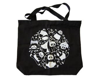 Eco-friendly panda bag, bag, black, cotton, canvas