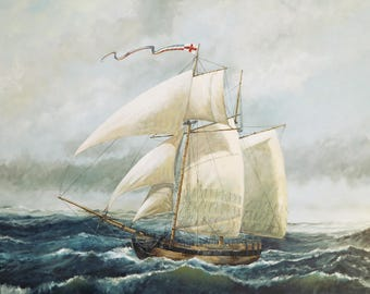 Signed print of schooner HMS Pickle delivering the message of Trafalgar; from an original painting; seascape; boat picture; sailboat; ship