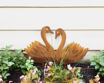 Metal Garden Swans - Rusted Garden Stakes - Rusted Metal Decor- Garden Art - Yard Decor - Metal Swans
