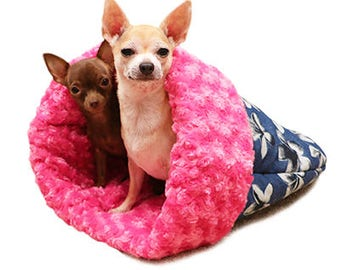 Set of 2 Teacup Pet Snuggle Bed  Pet Sleeping Burrow Bed Pet Cuddle Cup Dog Cat Pet Burrow Bed Warm Dog Bed Pet Sleeping Bag Pet Carrier