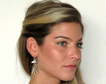 Dolphin Tail Earrings, Whale Tail Earrings, Ocean Jewelry, Silver Fringe Earrings, Silver Fin Earrings, Ocean Earrings, Silver Bar Earring