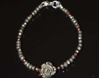 Grounding Pyrite and Roses Bracelet~ Energy Bracelets~ Valentine's Day Roses ~ Gift ideas
