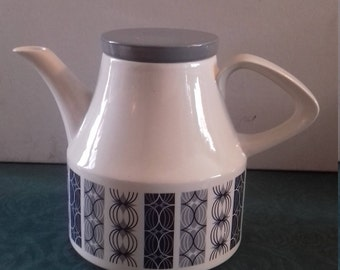 vintage retro tea or coffee pot wood and sons Alpine white ironstone Blue Orion
