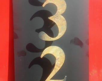 """Vertical Address Sign with Floating Numbers 8"""" x 20"""" Wall Mount or Ground Stake Display Home Numbers Plate Plaque"""