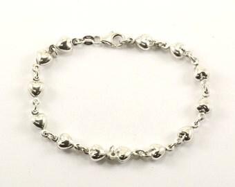 Vintage Hearts Chain Bracelet 925 Sterling BR 818