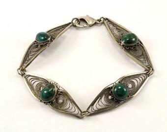Vintage Jasper Filigree Link Bracelet 925 Sterling BR 2236