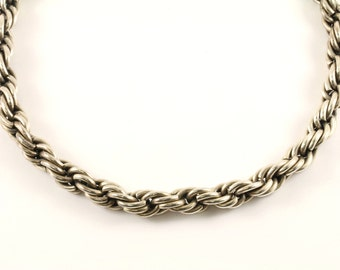 Vintage 10k Gold Heavy Twisted Serpentine Design Chain Necklace 925 Sterling Silver NC 1039