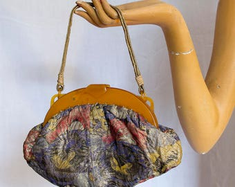 Stunning 1920s Floral Lamé Flapper Art Deco Handbag Purse with Bakelite or Celluloid Frame, Beautiful Gold Handle, Clean Interior