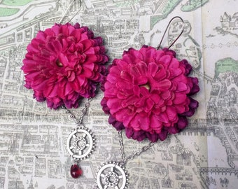 Steampunk mum flower earrings