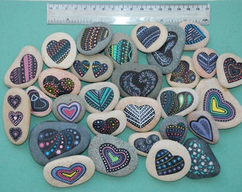 Painted Stones - Heart hand painted rocks, colorful painted hearts on sea pebble, meditation stone, unique handmade gift, rock art, decor