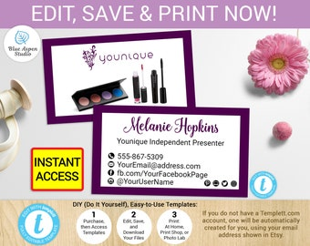 Younique business cards etsy nz younique business card printable younique cards template younique marketing younique products younique makeup younique branding reheart Images