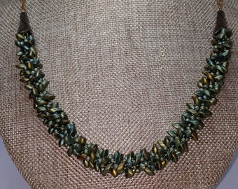 Beaded Kumihimo Necklace with Chain