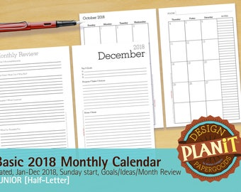 2018 Basic Planning Calendar, Printable, Junior, Dated Sunday Start, With Notes, Goals, & Review INSTANT DOWNLOAD