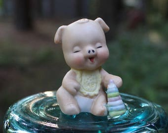 Vintage Enesco Baby Pig Figurine with Toy, Baby Pig with Stacking Rings, Ceramic Pig