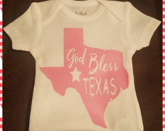 God Bless Texas! Preemie Thru 24 Months, Girl or Boy, Choice of Colors - FREE BOW!