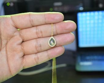 Labradorite CZ necklace,Grey color necklace,pear Shape necklace,tiny necklace,pendant necklace,adjustable necklace, white CZ women Jewellery