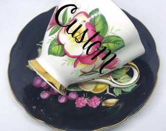 SALE!  Cheeky China, CUSTOM!! Fruit Blossom Tea Cup & Saucer // Free Shipping