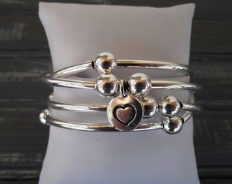 Silver Heart Wrap Bracelet - Heart Charm - Heart Jewelry - Heart Bracelet - Gift for Her - Girlfriend Gift - Silver Bracelet - Love Gift