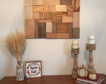 Reclaimed Wood Wall Art, Abstract Wood Wall Art, Wood Mosaic, Wood Wall Hanging, Repurposed Wood Art, Modern Wood Art