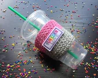 Unicorn gift - Unicorn Accessories - Reusable coffee sleeve - Crochet cup cozy - Crochet coffee cozy - Coffee cup sleeve - Cup sleeve