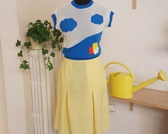 SALES 20% OFF midi skirt in pale yellow, seventies-style