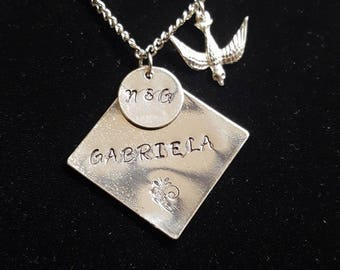 Hand Stamped Personalized Necklace with Bird Charm - Add A Name