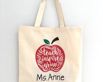 Teachers Canvas Tote Bag - Personalized Teacher Gift - Teach Inspire Grow Inspirational Tote Bag - Custom Gift for Teacher